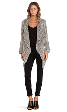 Jennifer Kate Waterfall Rabbit Fur Jacket in Natural Grey