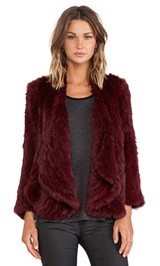 Jennifer Kate Windmill Rabbit Fur Jacket in Red Burgundy