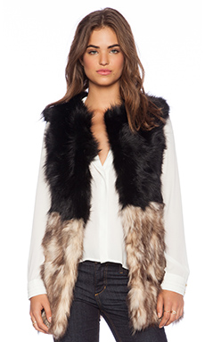 Jennifer Kate Monochrome Rabbit Fur Gilet in Black & Cream