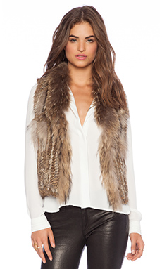 Jennifer Kate Short Rabbit Fur Gilet Vest in Caramel