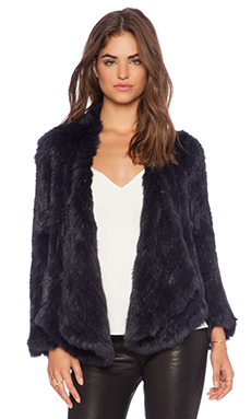 Jennifer Kate Windmill Rabbit Fur Jacket in Midnight