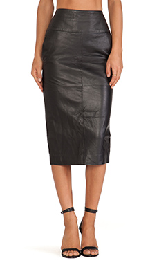Jennifer Kate Leather Pencil Skirt in Black