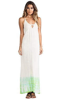 Jen's Pirate Booty Black Willow Maxi Dress in Natural & Neon Green ETD