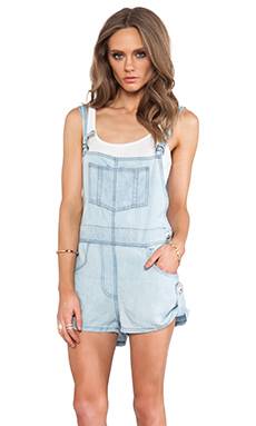 Jen's Pirate Booty Oleander Cut Off Overalls in Worn Out Blue