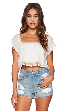 Jen's Pirate Booty Violette Crop Top in Swiss White