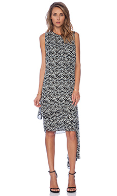Jenni Kayne Side Tie Dress in Black & White & Blue