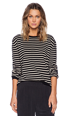 Jenni Kayne Narrow Stripe Pullover Sweater in Black & Nude