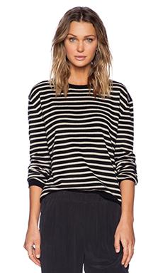 Jenni Kayne Narrow Stripe Pullover Sweater in Black & Nude