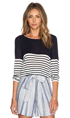 Jenni Kayne Striped Boatneck Sweater in Navy