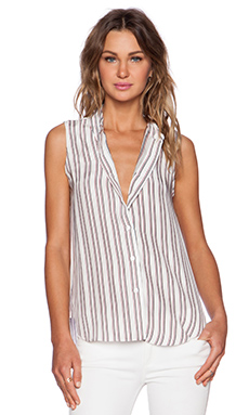 Jenni Kayne Button Down Tank in White, Red & Navy