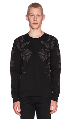 J. Lindeberg Abur Floral Compact Sweat in Black