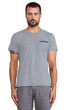 J. Lindeberg Remy Supreme Stripe Tee in Dark Navy