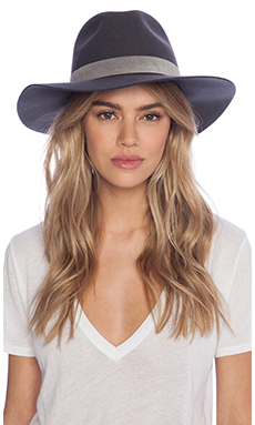 Janessa Leone Jo Hat in Pinstripe Grey