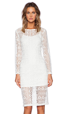 J.O.A. Lace Long Sleeve Dress in White