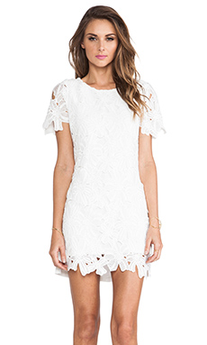 JOA Flower Lace Dress in White