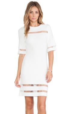 J.O.A. Short Sleeve Dress in Ivory