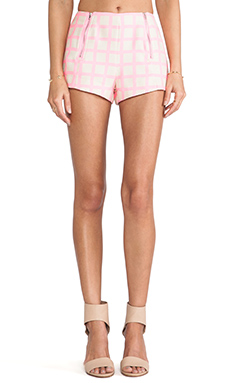 JOA Pink Checked Shorts in Neon Pink