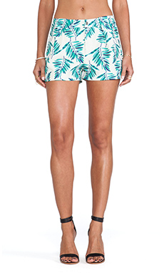 J.O.A. Leaf Print Shorts in Khaki Multi