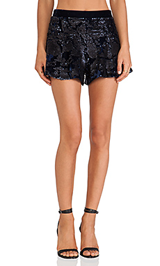 J.O.A. Sequin Velvet Shorts in Navy