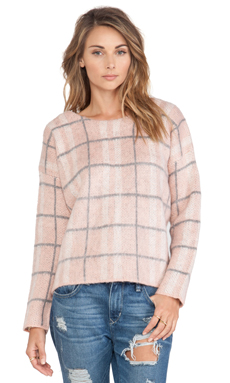 JOA Checked Sweater in Blush Pink