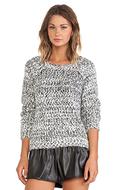 JOA Two Tone Sweater in White & Black