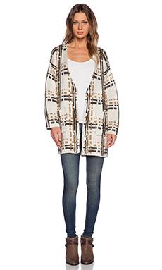JOA Checked Knit Coatigan in Light Khaki