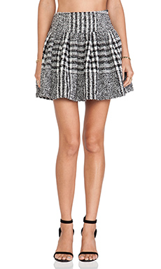 JOA Printed Tweed Skirt in Black & White
