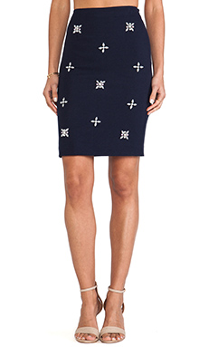 JOA Embellished Pencil Skirt in Navy