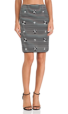 JOA Embellished Striped Skirt in Black & White