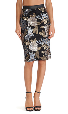 JOA Embellished Mesh Pencil Skirt in Black