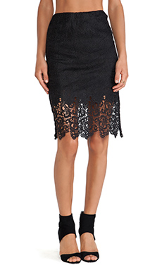 JOA Exclusive Lace Midi Skirt in Black