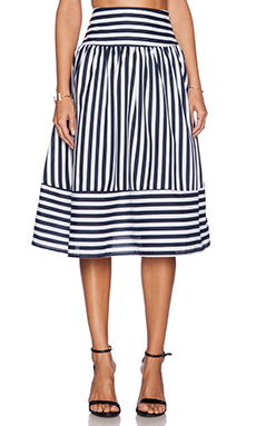 J.O.A. Panel Striped Skirt in Navy Stripe