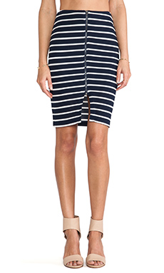 J.O.A. Striped Pencil Skirt in Navy
