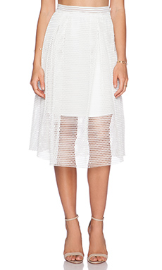 J.O.A. Mesh Skirt in White