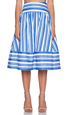 J.O.A. Striped Full Skirt in Blue