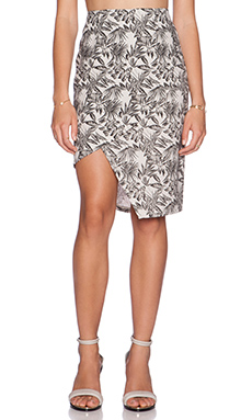 J.O.A. Printed Asymmetric Pencil Skirt in Khaki