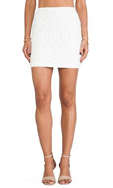 JOA Organza Lace Mini Skirt in White