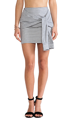 JOA Two-Fer Striped Skirt in Navy Stripe