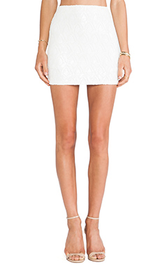 J.O.A. Jacquard Sequin Skirt in Ivory