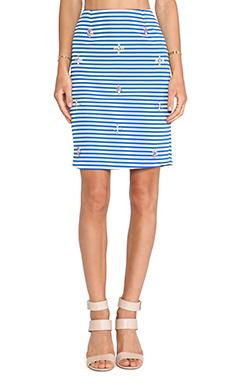 J.O.A. Embellished Pencil Skirt in Blue Striped