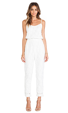 JOA Lace Jumpsuit in Off White