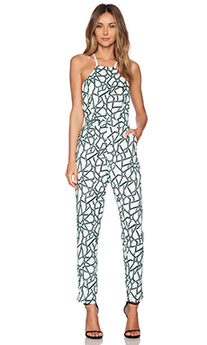 J.O.A. Cross Back Print Jumpsuit in Mint