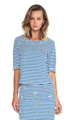 JOA Embellished Top in Blue Striped