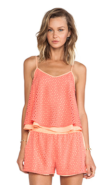 J.O.A. Floral Cut-Out Tank in Coral
