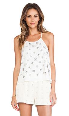 JOA Embellished Cami Top in Off White