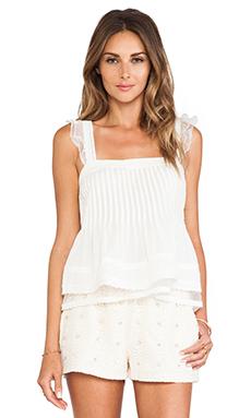 JOA Ruffled Sleeveless Top in Off White
