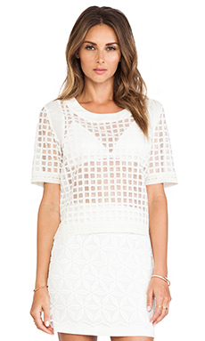 JOA Check Organza Shirt in Light Khaki