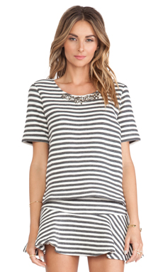 JOA Striped Embo Top in Charcoal & White