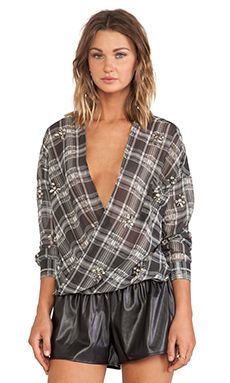 JOA Loose Checked Blouse in Deep Grey
