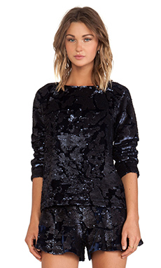 JOA Sequin Velvet Top in Navy